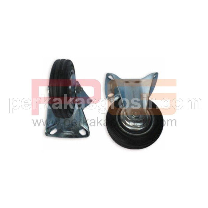 Black Rubber Caster type Rigid 4""